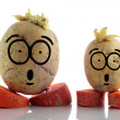Royalty-Free Stock Photo: Funny potatoes. Emoticons on white background