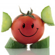 Stock Photo: Funny tomato. Emoticon on white background.