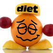 Stock Photo: Diet again... Funny fruits character collection on white background
