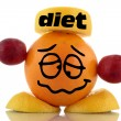Diet again... Funny fruits character collection on white background - Stock Photo