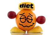 Diet again... Funny fruits character collection on white background — Stock Photo