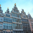Stock Photo: Number of rooftops of old medieval houses in main square of Antwerp in Belgium