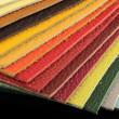 Natural leather upholstery samples with stitching in various colors — Stock Photo
