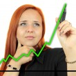 Business success growth chart. Business woman drawing graph showing profit growth on virtual screen. Redhead businesswoman isolated on white background — Foto Stock