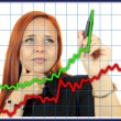 Business success growth chart. Business woman drawing graph showing profit growth on virtual screen. Redhead businesswoman isolated on white background — Lizenzfreies Foto