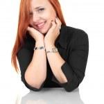 porträtt av glada leende glad ung affärskvinna, isolerade över vit bakgrund — Stockfoto