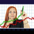 Business success growth chart. Business woman drawing graph showing profit growth on virtual screen. Redhead businesswoman isolated on white background — 图库照片