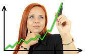 Tabla de crecimiento de éxito empresarial. mujer de negocios dibujo crecimiento de beneficio gráfico mostrando en la pantalla virtual. empresaria pelirroja aislada sobre fondo blanco. — Foto de Stock