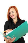 Beautiful redhead business woman with binder — Stock Photo