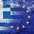 Grunge Flag of Greece and European Union. The economic crisis in Greece — Stock Photo