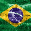 Brazil flag on old grunge wall background — Stock Photo