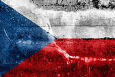 Czech Republic flag on old grunge wall background — Stock Photo