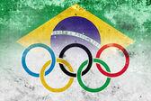 Grunge Olympic Flag and Brazil Flag — Stock Photo