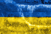 Ukraine Flag on grunge wall — Stock Photo