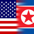 USA and North Korea Flag — Stockfoto