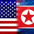 Stock Photo: Grunge USA and North Korea Flag