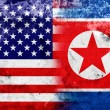 Grunge USA and North Korea Flag — Stock Photo