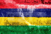 Mauritius Flag painted on grunge wall — Stock Photo