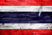 Thailand Flag painted on old wood plank background — Stock Photo