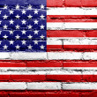 USA Flag painted on old brick wall — Stock Photo