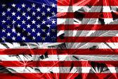 USA Flag on cannabis background. Drug policy. Legalization of marijuana — Stock Photo
