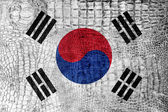 South Korea Flag on luxury crocodile texture — Stock Photo
