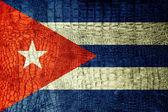 Cuba Flag painted on luxury crocodile texture — Stock Photo