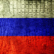 Russia Flag painted on luxury crocodile texture — Stock Photo