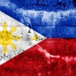 Philippines Flag painted on grunge wall — Stock Photo