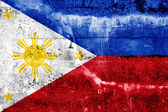 флаг филиппин, роспись на стене гранж — Стоковое фото