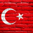 Turkey Flag painted on brick wall — Stockfoto