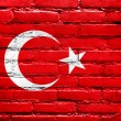 Turkey Flag painted on brick wall — Stock fotografie