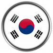 South Korea Flag glossy button — Stock Photo