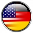 USA and Germany Flag glossy button — Stock Photo