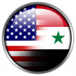 USA and Syria Flag glossy button — Stock Photo