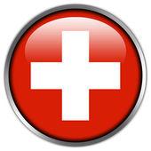 Switzerland Flag glossy button — Stock Photo