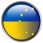 EU and Ukraine Flag glossy button — Stock Photo