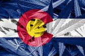 Colorado Flag on Cannabis background — Foto de Stock
