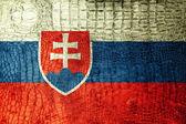 Slovakia Flag painted on luxury crocodile texture — Stock Photo
