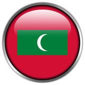 мальдивы флаг глянцевый кнопку — Стоковое фото
