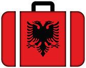 Koffer mit albanien flagge — Stockfoto