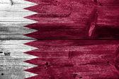 флаг катара на старые текстуры древесины доски — Стоковое фото