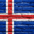 Iceland Flag painted on brick wall — Stok fotoğraf