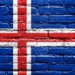 Iceland Flag painted on brick wall — 图库照片