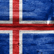 Iceland Flag painted on old wood plank texture — Stock Photo