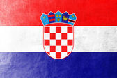 Croatia Flag painted on leather texture — Stock Photo