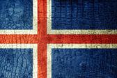 Iceland Flag painted on luxury crocodile texture — Stock Photo