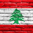 Stock Photo: Lebanon Flag painted on brick wall