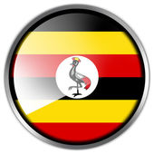 Uganda Flag glossy button — Stock Photo