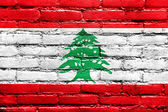 Lebanon Flag painted on brick wall — Stock Photo